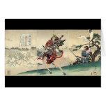 Escena que lucha del samurai japonés tarjeta