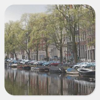 Escena reservada del canal - Amsterdam, Holanda Pa Pegatinas Cuadradas Personalizadas