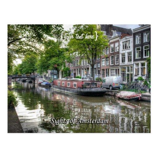 Escena reservada del canal, vistas de Amsterdam Tarjeta Postal