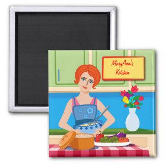 Escena retra de la cocina iman para frigorífico