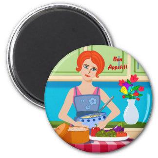 Escena retra de la cocina imán redondo 5 cm