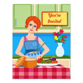 """Escena retra de la cocina invitación 4.25"""" x 5.5"""""""