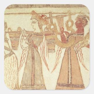 Escena ritual de la adoración pegatina cuadrada