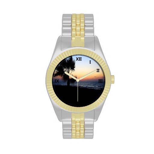 Escena romántica 1 de la playa reloj de mano