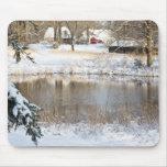 Escena rural de la nieve tapetes de raton
