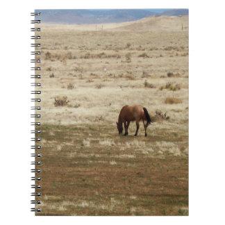 Escena rural del caballo bonito del ante libro de apuntes con espiral