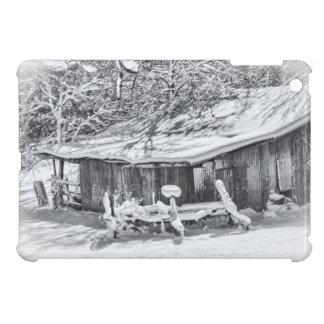 Escena rural del invierno del granero y del rastri iPad mini protector