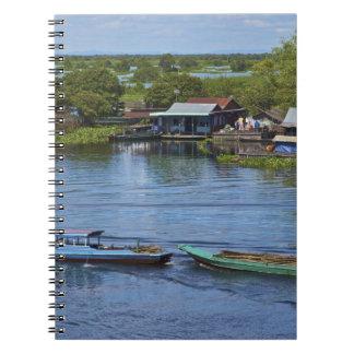 Escena rural, lago sap de Tonle, Siem Reap, Angkor Libro De Apuntes Con Espiral