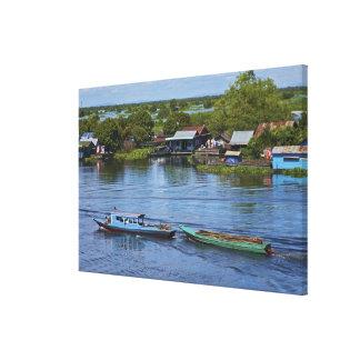 Escena rural, lago sap de Tonle, Siem Reap, Angkor Impresión En Lona Estirada