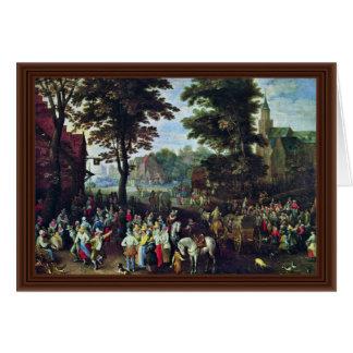 Escena rural por Bruegel D.J. Pieter (la mejor cal Felicitacion