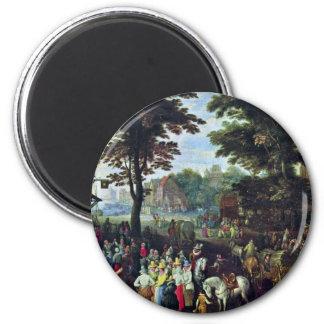 Escena rural por Bruegel D.J. Pieter (la mejor Imán Redondo 5 Cm
