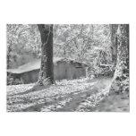 Escena rural retroiluminada blanco y negro de la comunicados