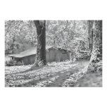 Escena rural retroiluminada blanco y negro de la n impresiones fotográficas