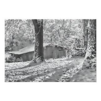 Escena rural retroiluminada blanco y negro de la n fotografía