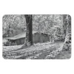Escena rural retroiluminada blanco y negro de la n imanes de vinilo