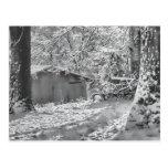Escena rural retroiluminada blanco y negro de la postal