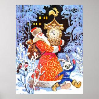 Escena rusa del navidad del padre del vintage póster