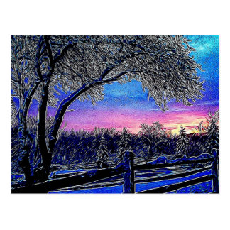 Escena rústica hermosa del invierno tarjeta postal