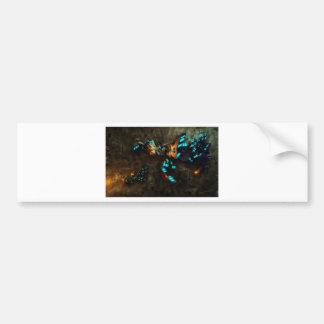 Escena salvaje y loca abstracta etiqueta de parachoque
