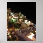 Escena Santorini de la noche Posters