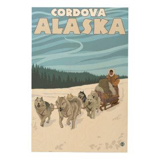 Escena Sledding del perro - Cordova, Alaska Impresión En Madera