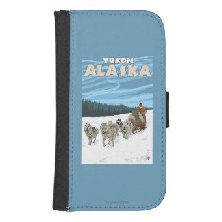 Escena Sledding del perro - el Yukón, Alaska Fundas Cartera De Galaxy S4