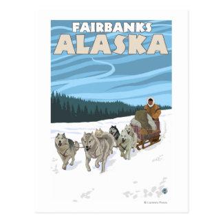 Escena Sledding del perro - Fairbanks, Alaska Postales