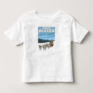 Escena Sledding del perro - Juneau, Alaska Tee Shirt