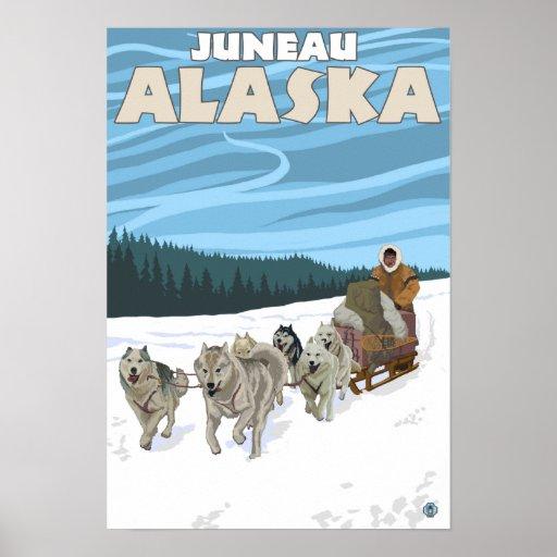 Escena Sledding del perro - Juneau, Alaska Poster