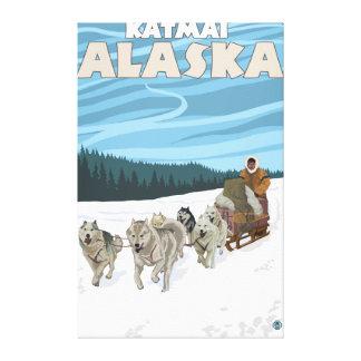 Escena Sledding del perro - Katmai, Alaska Impresión De Lienzo