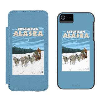 Escena Sledding del perro - Ketchikan, Alaska Funda Billetera Para iPhone 5 Watson