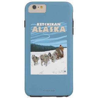 Escena Sledding del perro - Ketchikan, Alaska Funda De iPhone 6 Plus Tough