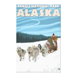 Escena Sledding del perro - parque nacional de Den Lona Estirada Galerías