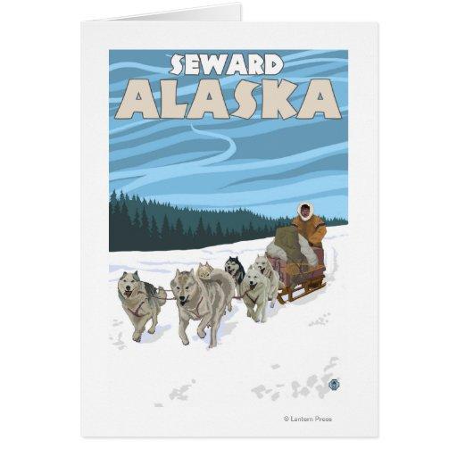 Escena Sledding del perro - Seward, Alaska Tarjeta De Felicitación