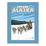 Escena Sledding del perro - Seward, Alaska Tarjeta Postal