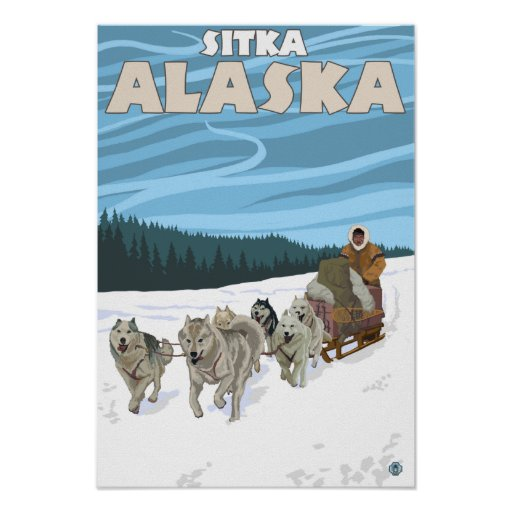 Escena Sledding del perro - Sitka, Alaska Impresiones