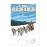 Escena Sledding del perro - Sitka, Alaska Postal