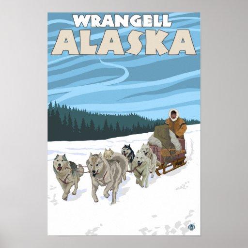 Escena Sledding del perro - Wrangell, Alaska Impresiones