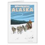 Escena Sledding del perro - Wrangell, Alaska Felicitación