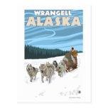 Escena Sledding del perro - Wrangell, Alaska Postal