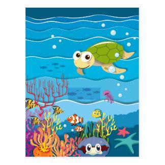 Escena subacuática con la tortuga y los pescados postal