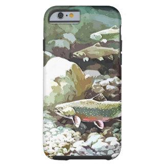 Escena subacuática de la pesca de la trucha funda para iPhone 6 tough
