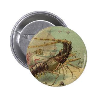 Escena subacuática del océano del vintage con vida pin redondo 5 cm
