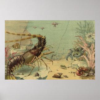 Escena subacuática del océano del vintage con vida póster