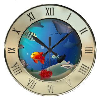 Escena subacuática reloj redondo grande
