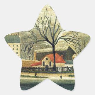 Escena suburbana de Henri Rousseau Pegatina En Forma De Estrella