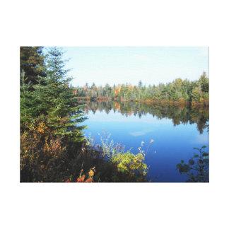 Escena superior del Adirondacks del otoño del río  Lona Envuelta Para Galerías