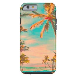 Escena tealca hawaianos de la playa del vintage de