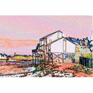 escena temática rosada de la playa del bosquejo de