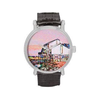 escena temática rosada de la playa del bosquejo de reloj de mano